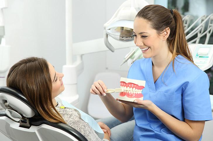 Zahnärztin erklärt Gebiss